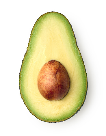 Half of fresh ripe avocado isolated on white background, top view