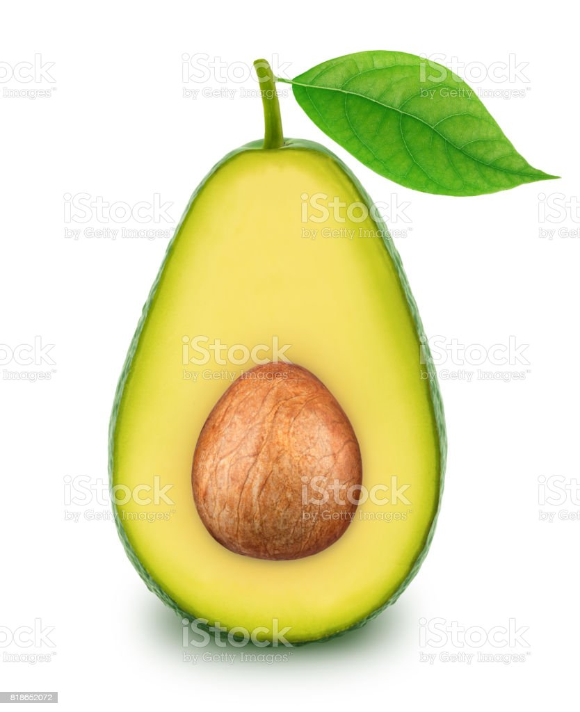 Half of green avocado with leaf isolated on a white stock photo