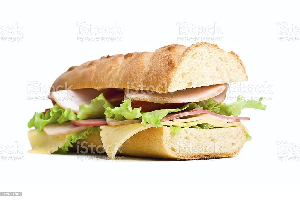half of long baguette sandwich stock photo