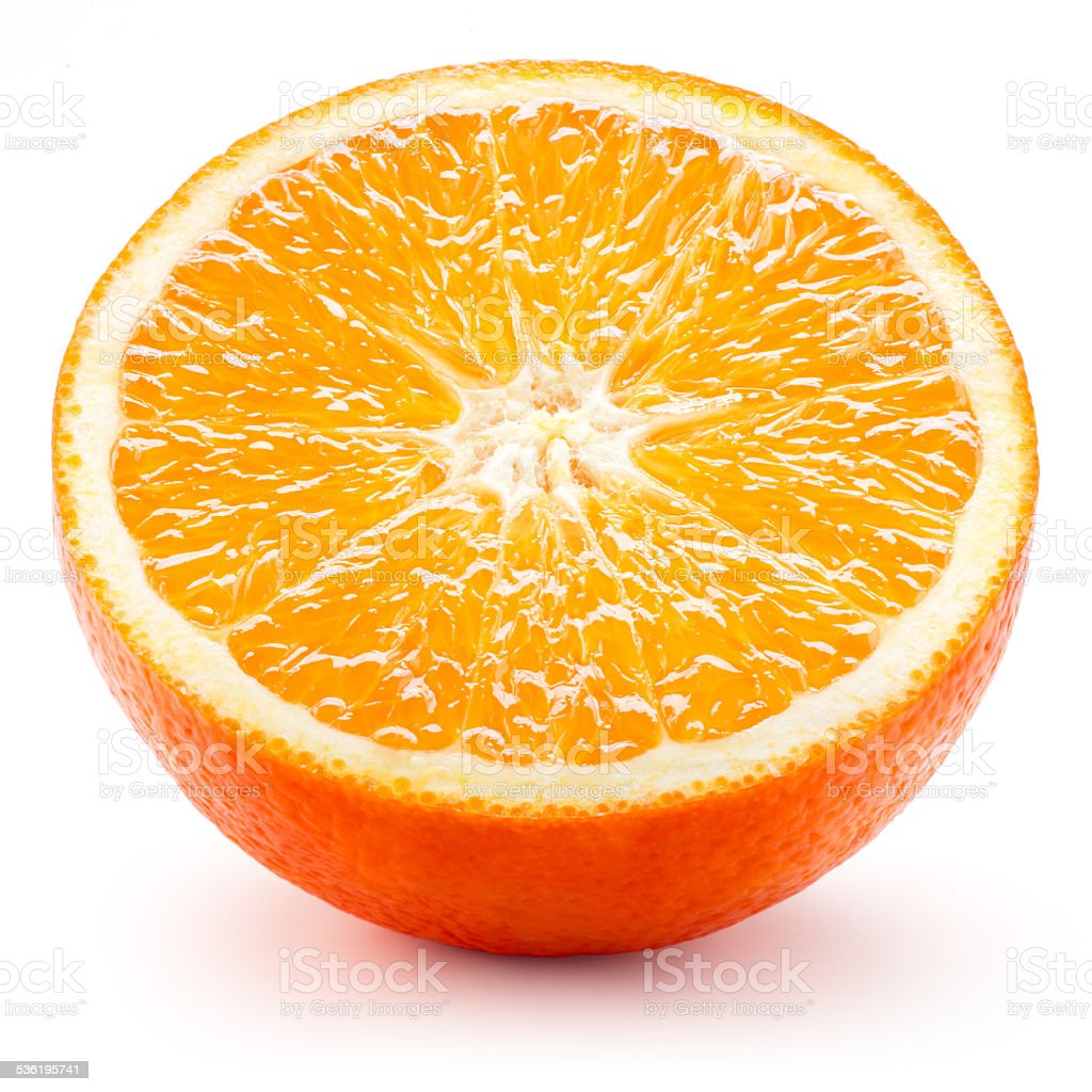 Half of orange isolated on white background stock photo