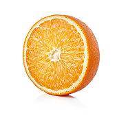 single half of ripe orange fruit isolated on white background
