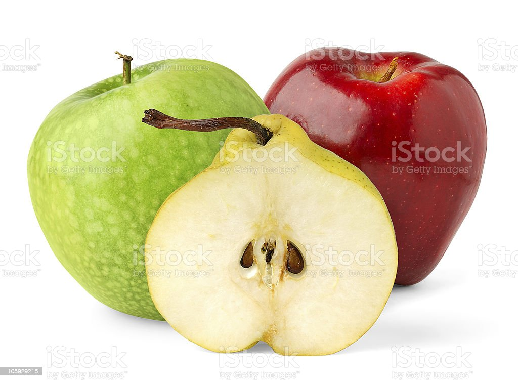 Half of pear and apples royalty-free stock photo