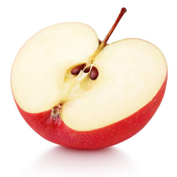 Half of red apple fruit stock photo