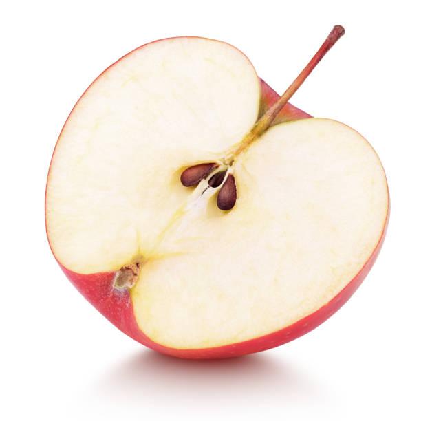 赤リンゴ果実の半分 ストックフォト