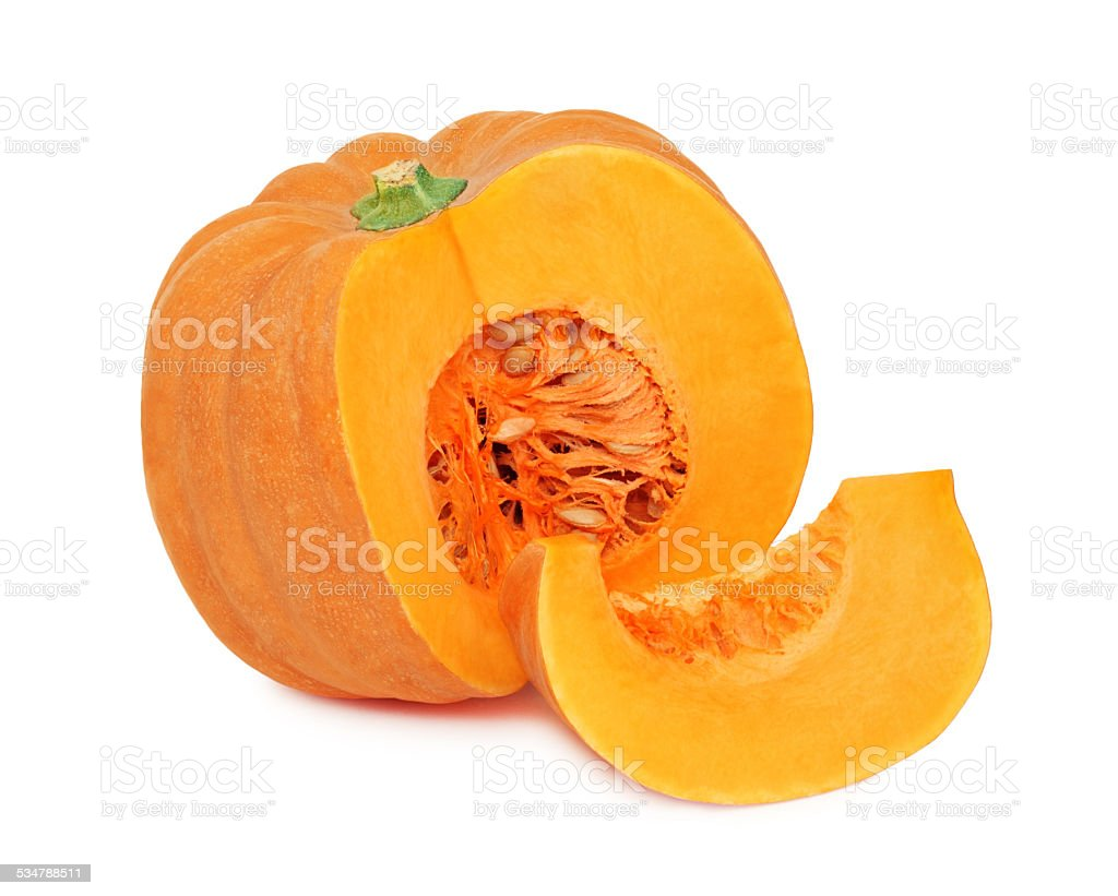 Half of ripe pumpkin and one slice (isolated) stock photo