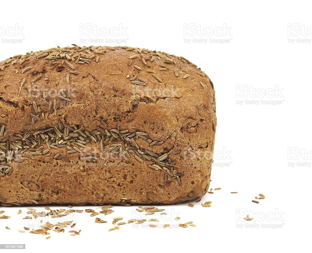 Half of rye bread with caraway seed. royalty-free stock photo