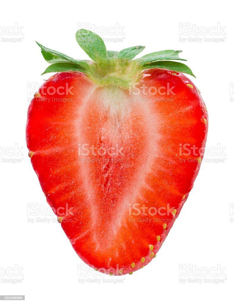 Half of strawberry isolated on white. With clipping path.​​​ foto
