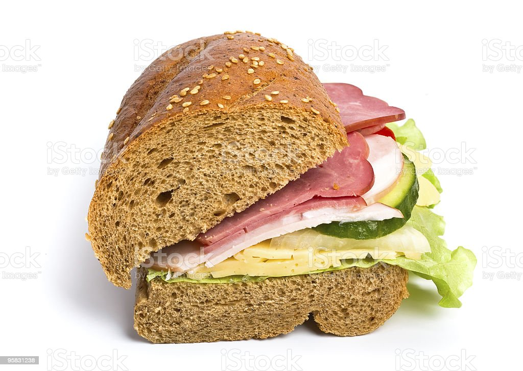 half of whole wheat bread sandwich royalty-free stock photo