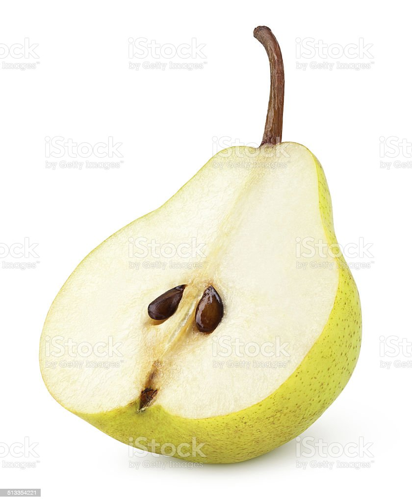 Half of yellow pear fruit isolated on white stock photo