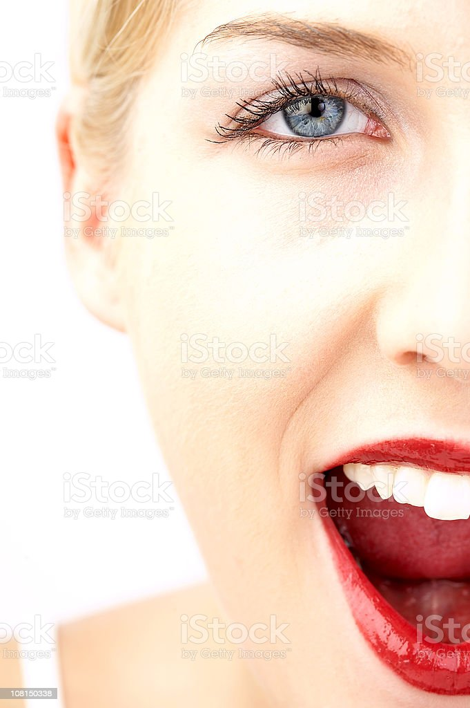 Half of Young Woman's Face Smiling, High Key royalty-free stock photo