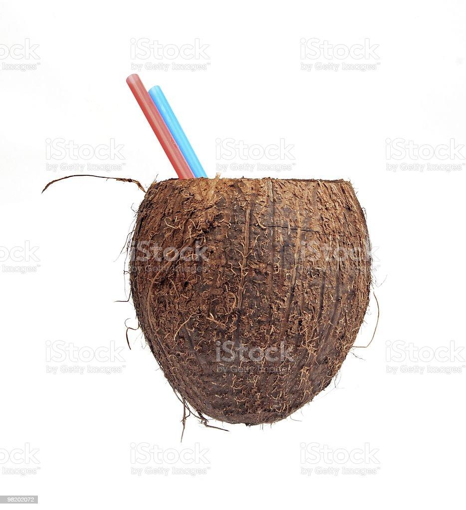 Mezza apertura di cocco isolato su bianco foto stock royalty-free