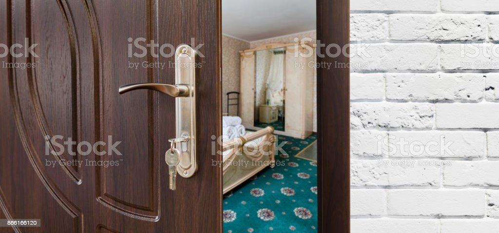 Half Open Door Of A Classic Bedroom, Handle Closeup. Royalty Free Stock  Photo