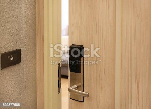 istock Half open door of hotel room. 695877566