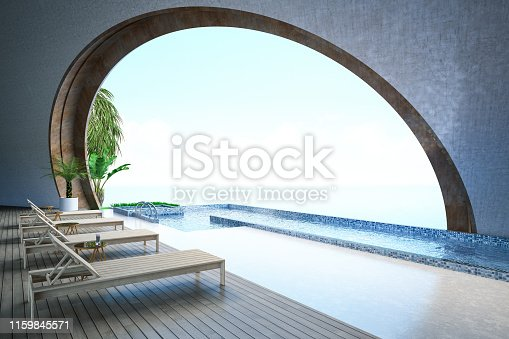 Half Open Swimming Pool with View. 3D Render