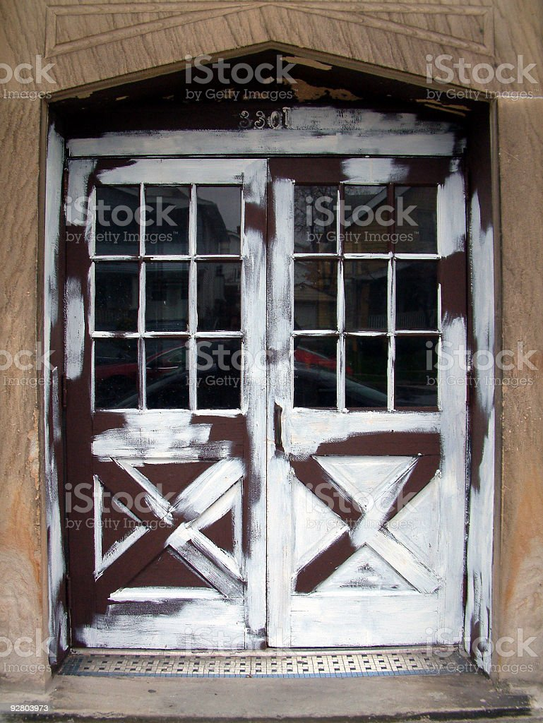 Half Painted Doors royalty-free stock photo