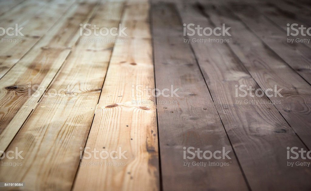 Half painted wooden background with grey colour, wooden floor. stock photo
