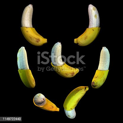 istock Half peeled banana fruit black background multiple angles 3d render 1149722440