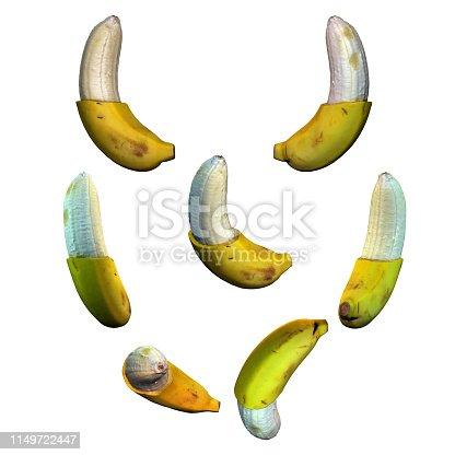 istock Half peeled banana fruit white background multiple angles 3d render 1149722447