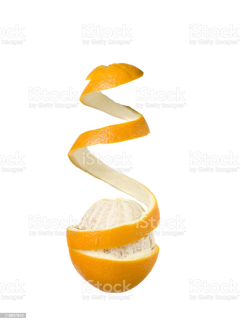 Half peeled orange stock photo
