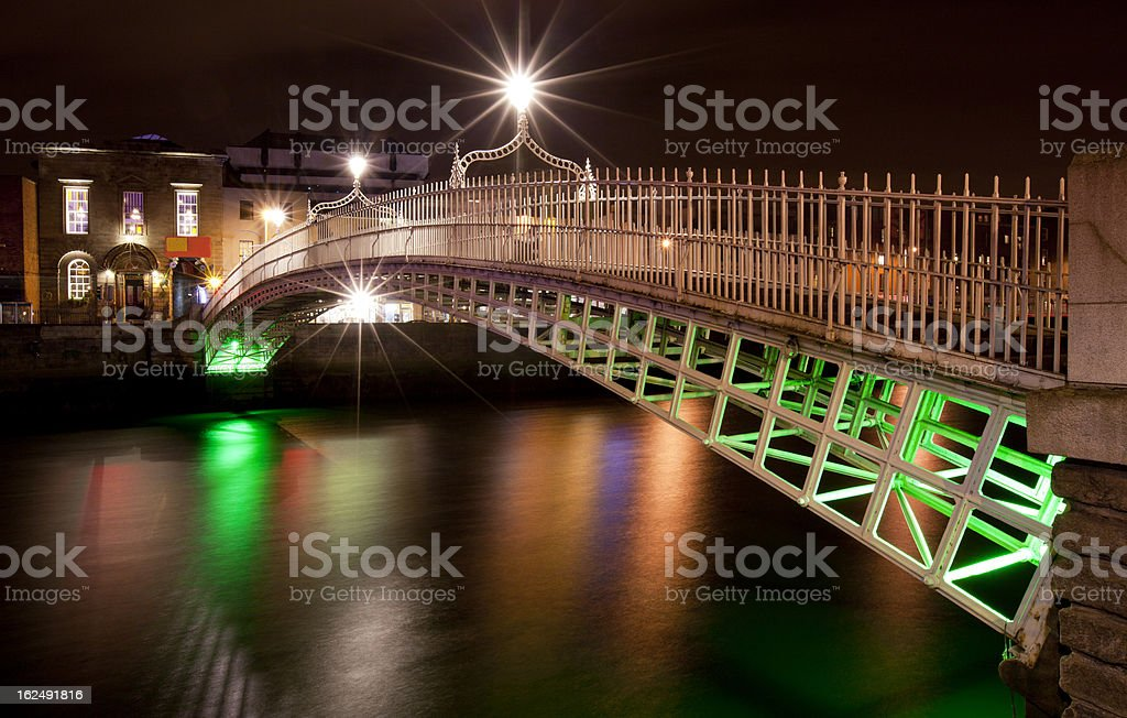 Half Penny Bridge in Dublin, Ireland stock photo