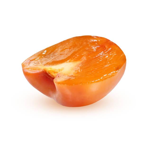 半分柿は、白い背景で隔離。 - 熟した ストックフォトと画像