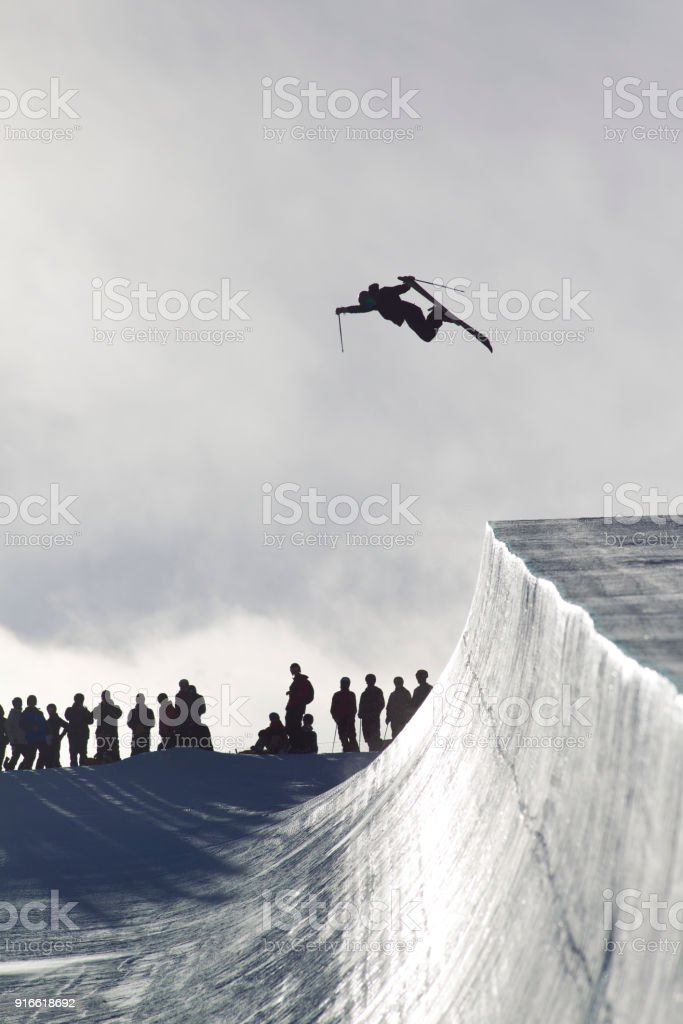 Half Pipe Skier stock photo