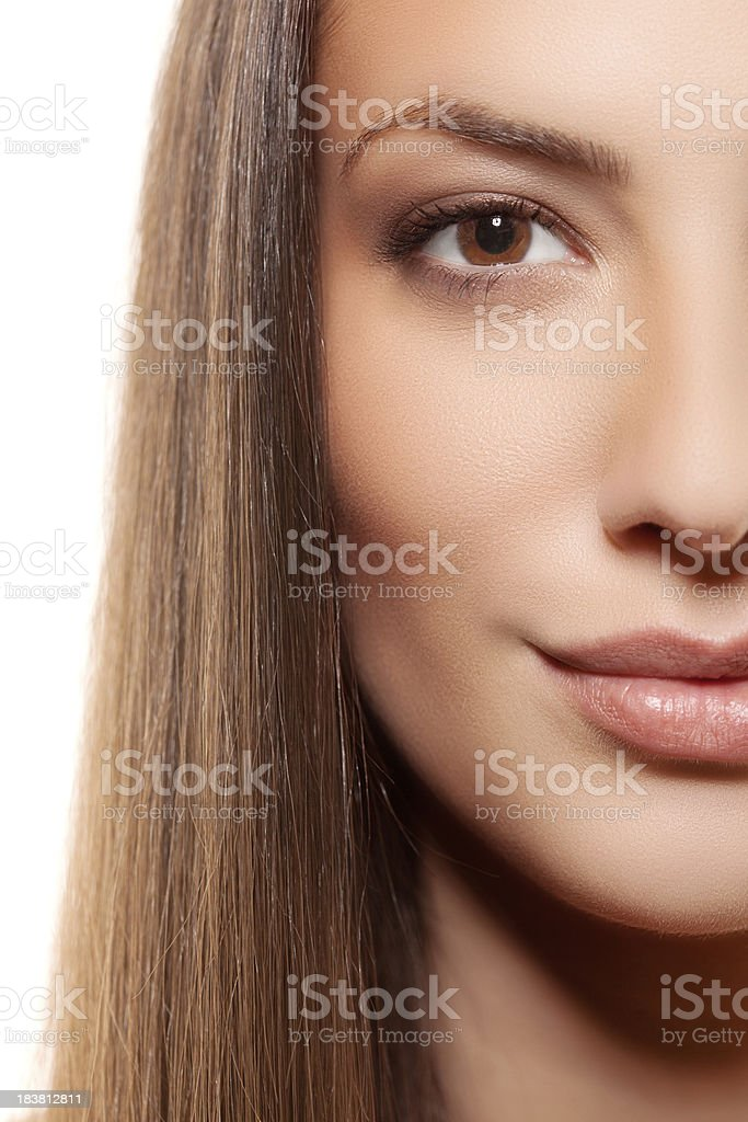 Half portrait of beautiful woman over white background royalty-free stock photo
