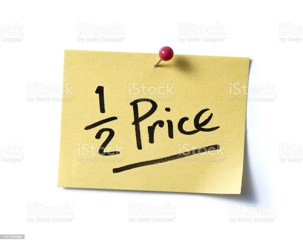 Half Price!  post-it. royalty-free stock photo