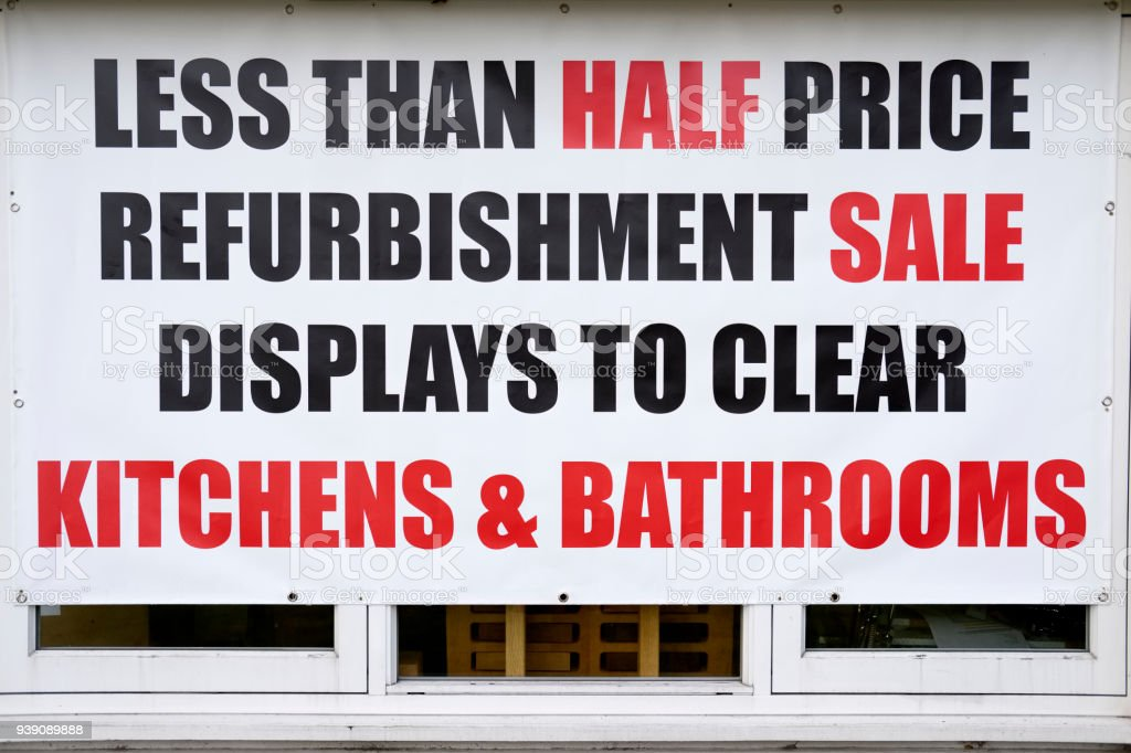 Half Price Sale Sign Red White In Shop Window Banner For Kitchens ...