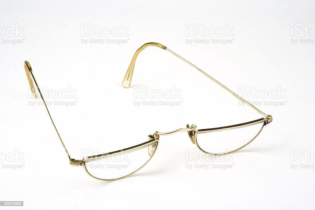 Half Round Gold Framed Glasses royalty-free stock photo