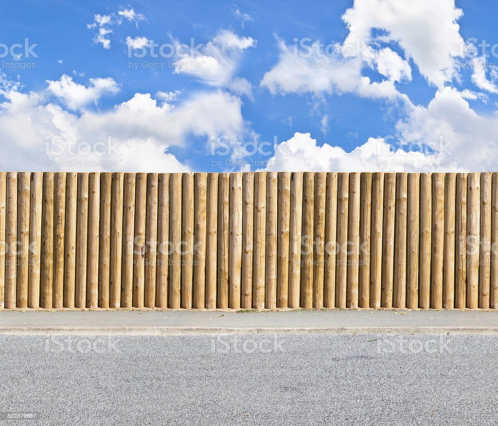 half round post and rail fence stock photo