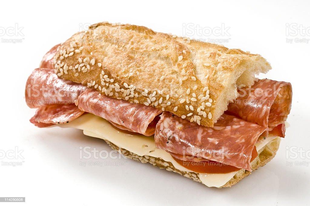 Half Salami and swiss cheese sandwich stock photo