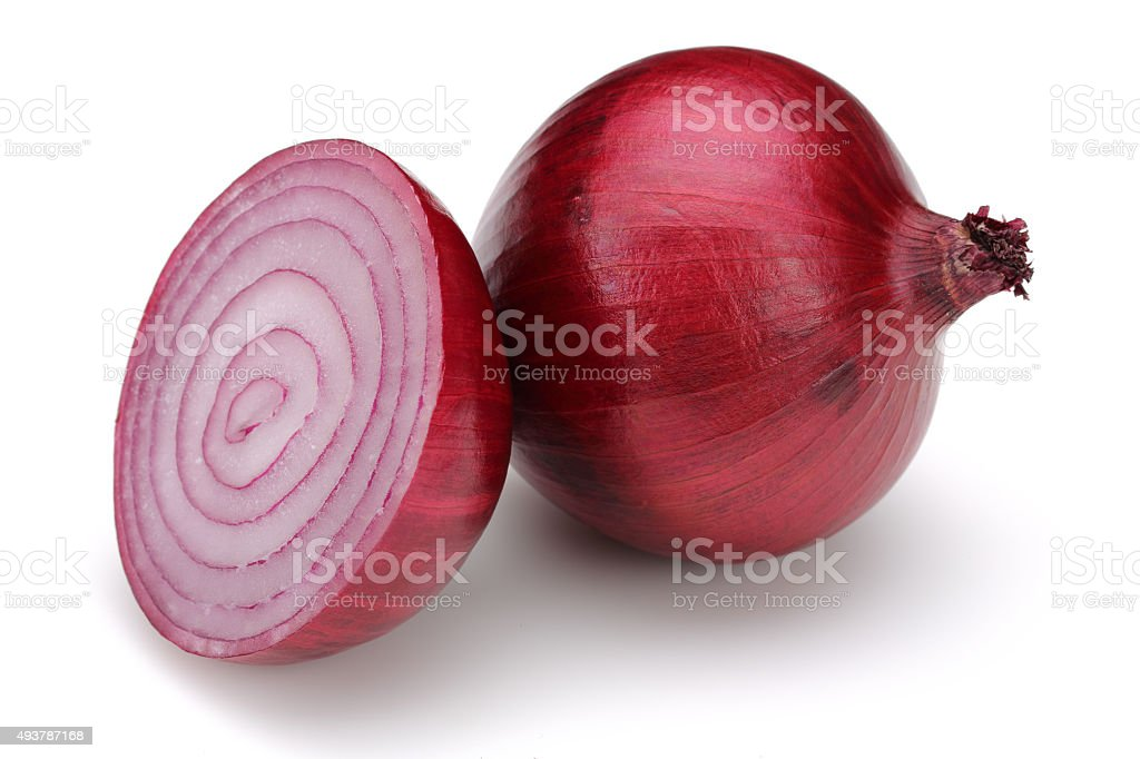 Half slice and Red onions stock photo
