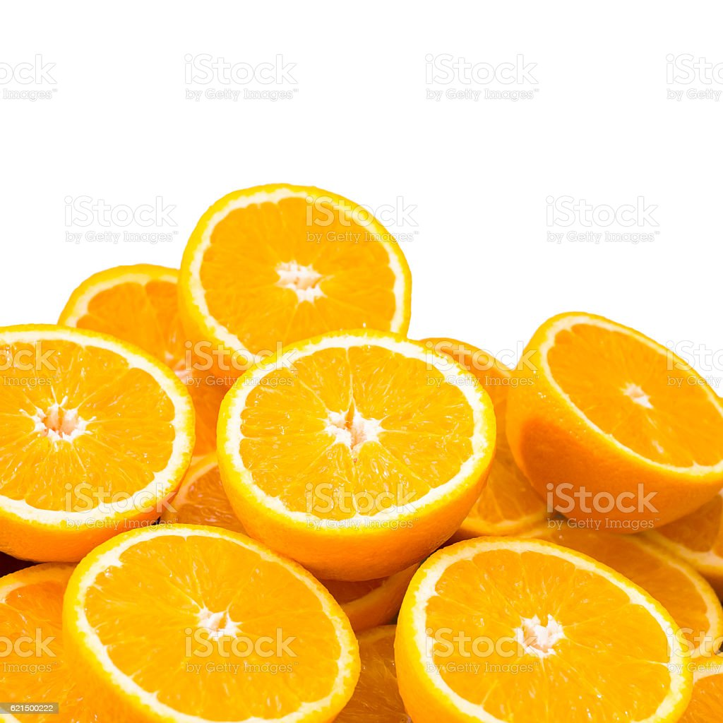 Half sliced oranges, isolated on white foto stock royalty-free