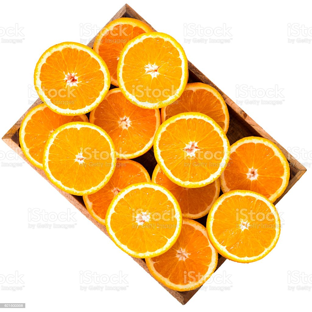 Half sliced oranges, isolated on white photo libre de droits