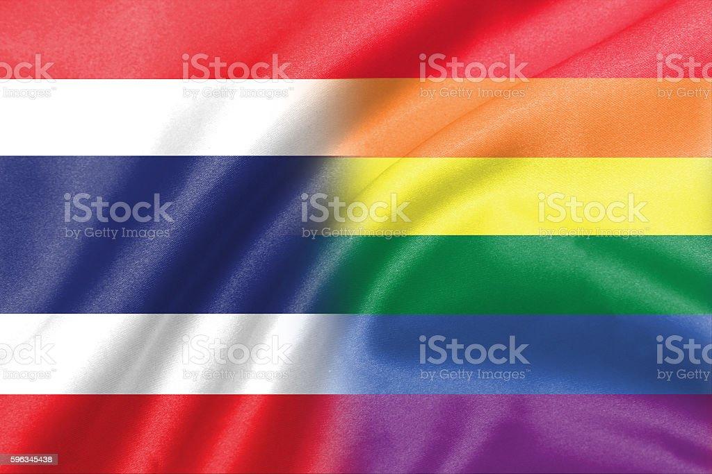 half thailand half lgbt flag royalty-free stock photo
