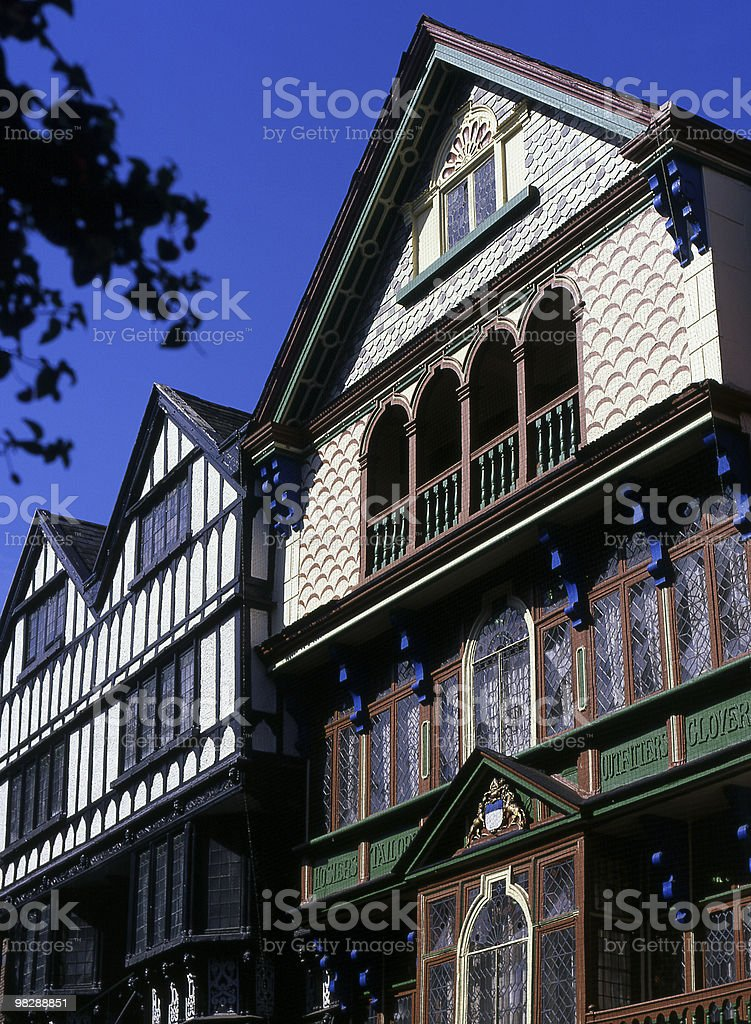 Half timbered buildings in the High Street, Exeter, Devon, England royalty-free stock photo