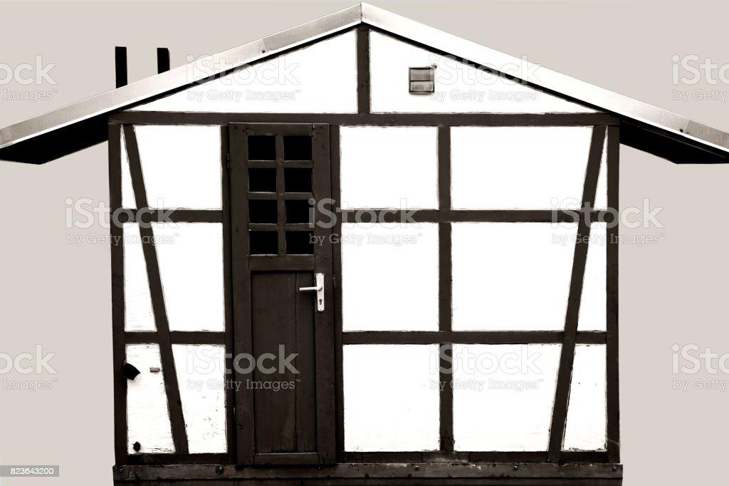 Half timbered garden house stock photo