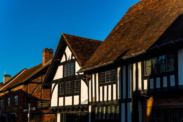 half timbered historical buildings stratford upon avon warwickshire english midlands england uk stock photo