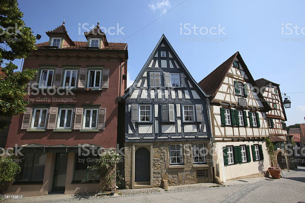 Half timbered houses in Germany stock photo