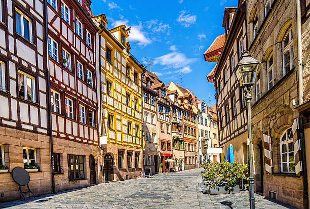 Half timbered Houses in Nuremberg´s Weissgerbergasse stock photo
