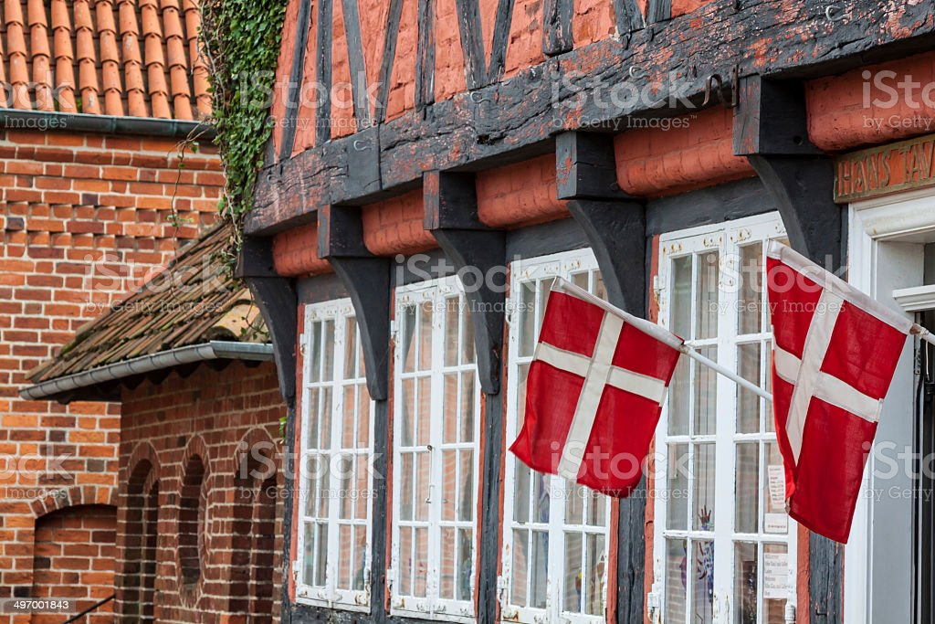 half timbered traditional house in ribe denmark royalty-free stock photo