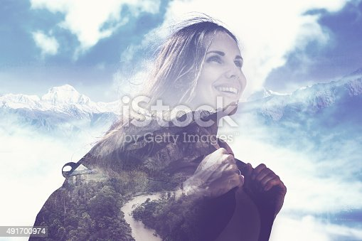 istock half transparent woman's portrait overlaying the mountain landscape 491700974