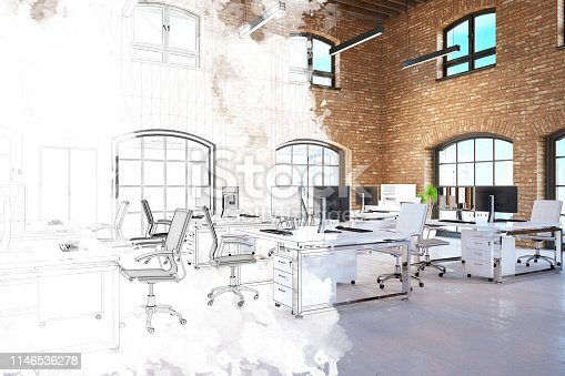 istock Half Unfinished Office Sketch and 3D Render 1146536278