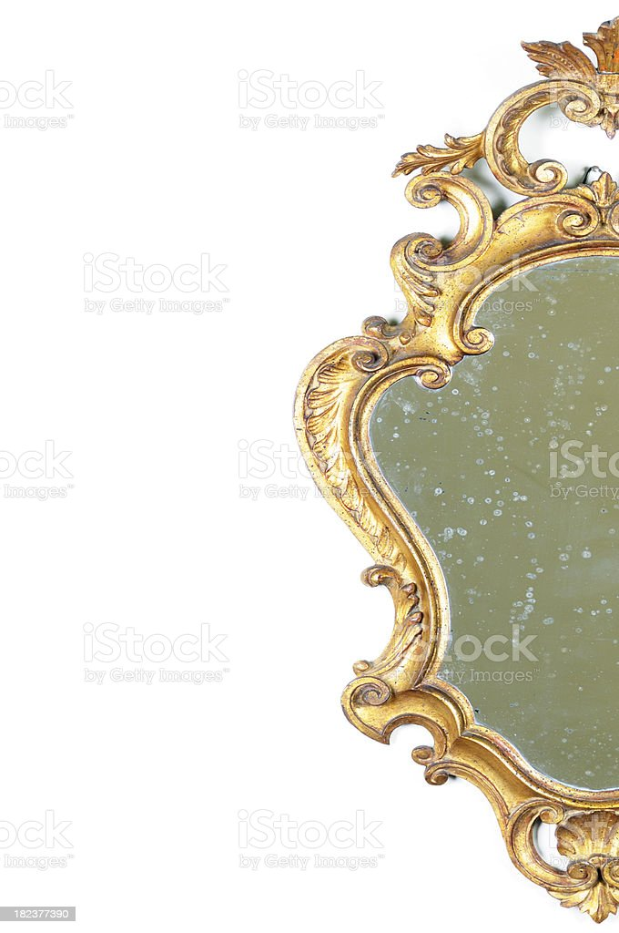 Half Vintage Gold Mirror. Copy Space royalty-free stock photo