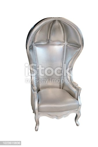 Half-dome, balloon chair throne, upholstered in silver fabric