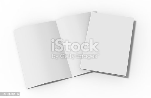istock A4 half-fold brochure blank white template on isolated white background, bi-fold brochure for mock up and presentation design, 3d illustration. 991904516