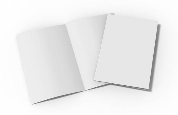 a4 half-fold brochure blank white template on isolated white background, bi-fold brochure for mock up and presentation design, 3d illustration. - magazine mockup stock photos and pictures