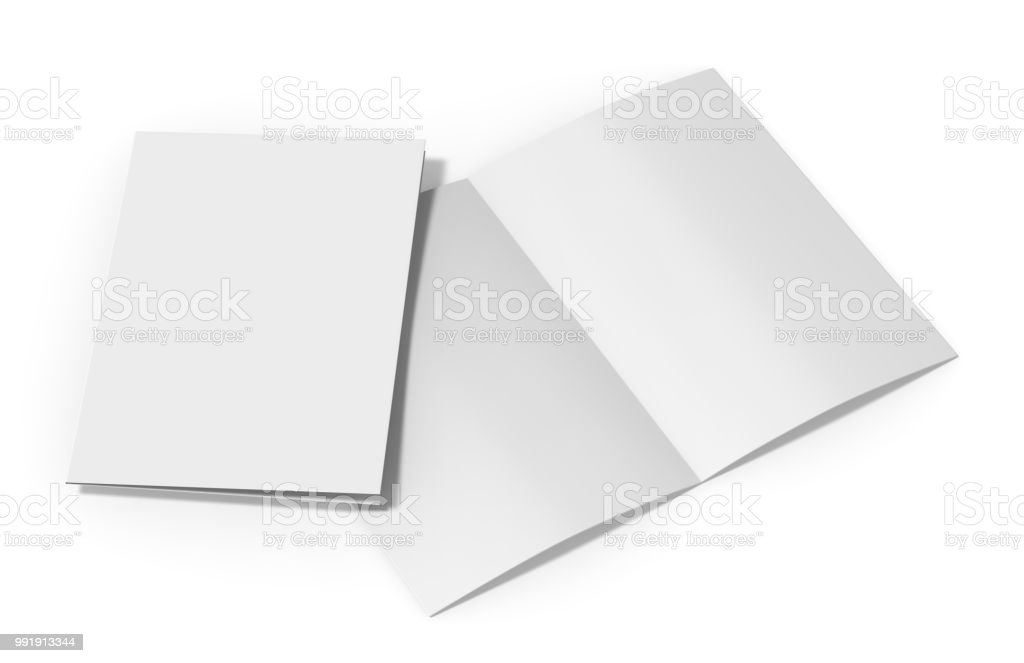 A4 Halffold Brochure Blank White Template On Isolated White Background  Bifold Brochure For Mock Up And Presentation Design 3d Illustration Stock  Photo