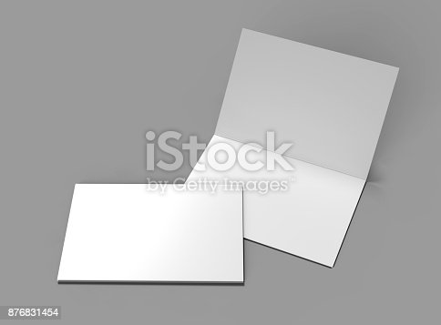 istock Half-fold horizontal brochure blank white template for mock up and presentation design. 3d illustration. 876831454